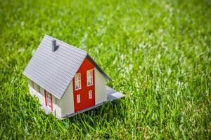 Игрушечный дом на траве